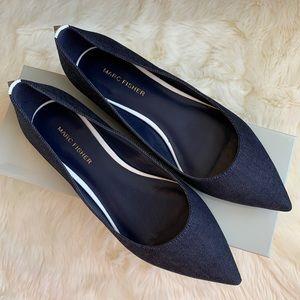 NIB NWT Marc Fisher Dark Blue Fabric Flats 7.5